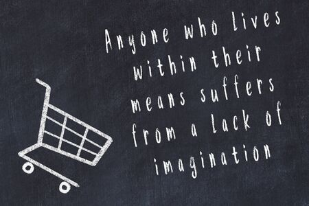 Chalk drawing of shopping cart and short quote about shopping on black board. Stock fotó