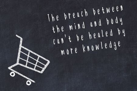Chalk drawing of shopping cart and short quote about shopping on black board. Banco de Imagens - 129100654