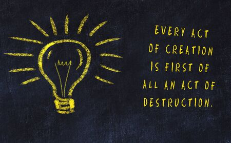 Chalk drawing of bulb and inscription about art and creativity. 版權商用圖片