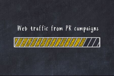 Chalk drawing of loading progress bar with inscription web traffic from pr campaigns. Stock Photo