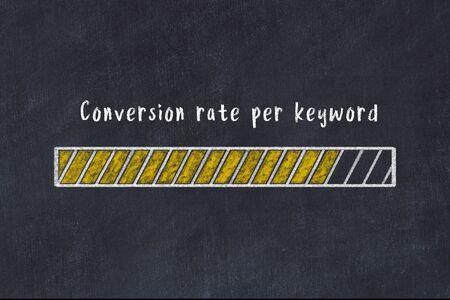 Chalk drawing of loading progress bar with inscription conversion rate per keyword.
