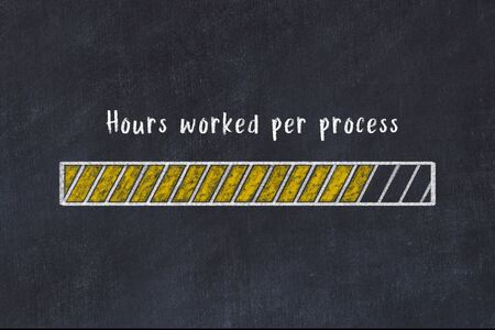Chalk drawing of loading progress bar with inscription hours worked per process. Фото со стока