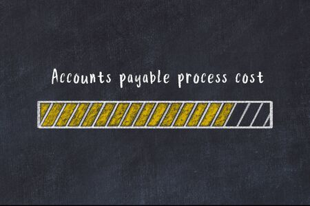 Chalk drawing of loading progress bar with inscription accounts payable process cost. Фото со стока