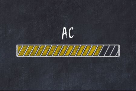 Chalk drawing of loading progress bar with inscription ac.
