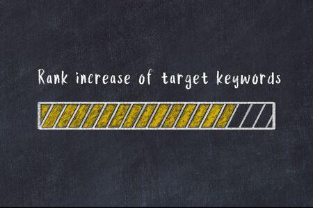 Chalk drawing of loading progress bar with inscription rank increase of target keywords.