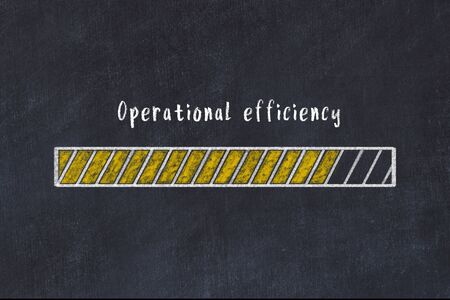 Chalk drawing of loading progress bar with inscription operational efficiency.