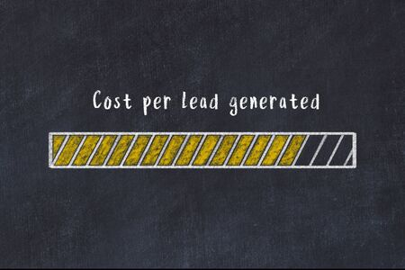 Chalk drawing of loading progress bar with inscription cost per lead generated. Stock fotó