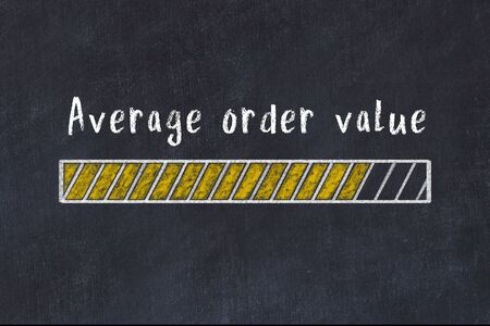 Chalk drawing of loading progress bar with inscription average order value. Archivio Fotografico