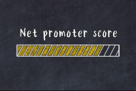 Chalk drawing of loading progress bar with inscription net promoter score.