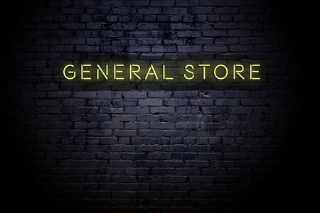 Highlighted brick wall with neon inscription general store. Imagens