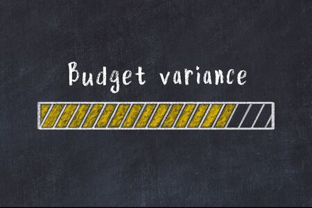 Chalk drawing of loading progress bar with inscription budget variance.
