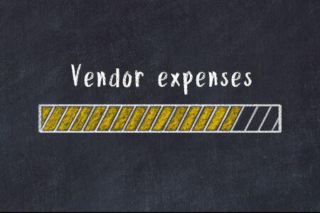Chalk drawing of loading progress bar with inscription vendor expenses.