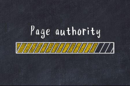 Chalk drawing of loading progress bar with inscription page authority.