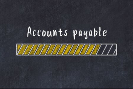 Chalk drawing of loading progress bar with inscription accounts payable. Stok Fotoğraf