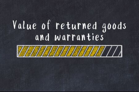 Chalk drawing of loading progress bar with inscription value of returned goods and warranties.
