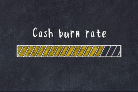 Chalk drawing of loading progress bar with inscription cash burn rate.