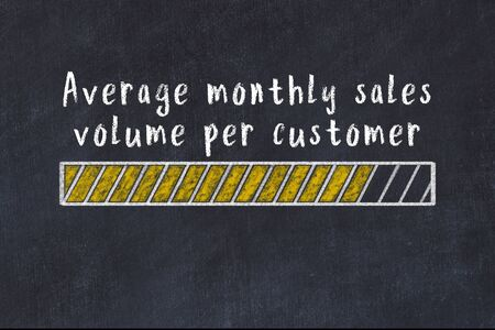 Chalk drawing of loading progress bar with inscription average monthly sales volume per customer.