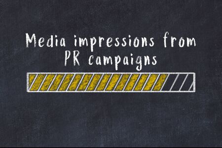 Chalk drawing of loading progress bar with inscription media impressions from pr campaigns.