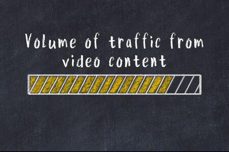 Chalk drawing of loading progress bar with inscription volume of traffic from video content.