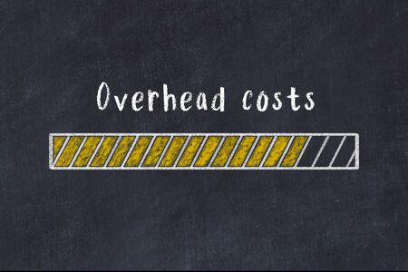Chalk drawing of loading progress bar with inscription overhead costs.