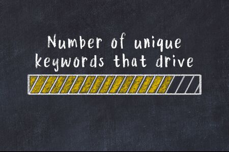 Chalk drawing of loading progress bar with inscription number of unique keywords that drive traffic.