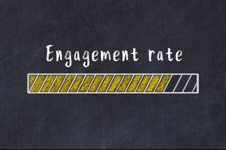 Chalk drawing of loading progress bar with inscription engagement rate.
