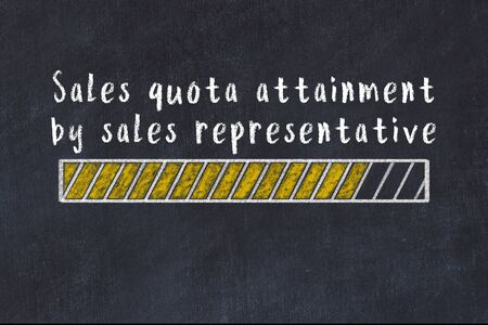 Chalk drawing of loading progress bar with inscription sales quota attainment by sales representative. Stok Fotoğraf