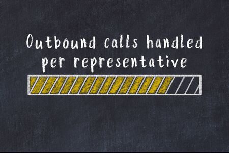 Chalk drawing of loading progress bar with inscription outbound calls handled per representative. Stok Fotoğraf