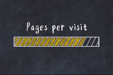 Chalk drawing of loading progress bar with inscription pages per visit.