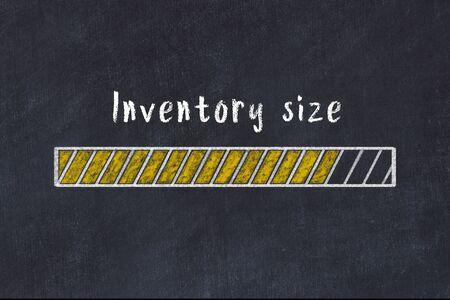 Chalk drawing of loading progress bar with inscription inventory size.