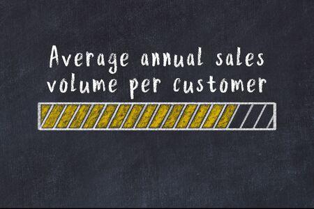 Chalk drawing of loading progress bar with inscription average annual sales volume per customer. Stok Fotoğraf