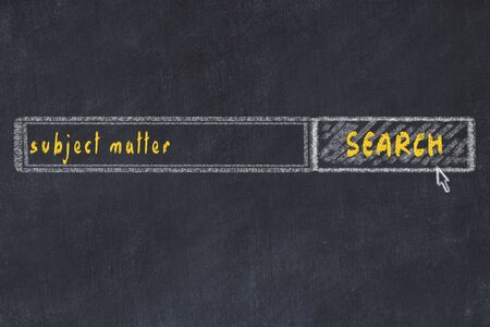 Chalkboard drawing of search browser window and inscription subject matter.