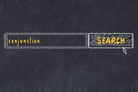 Chalkboard drawing of search browser window and inscription conjunction.