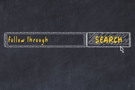 Chalkboard drawing of search browser window and inscription follow through.