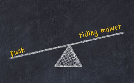 Chalk board sketch of scales. Concept of balance between riding mower and push. Stok Fotoğraf