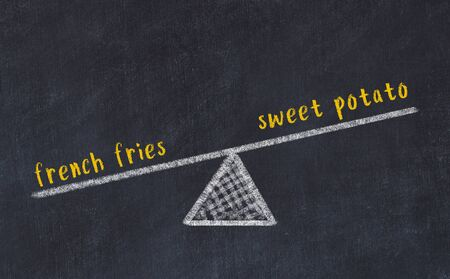 Chalk board sketch of scales. Concept of balance between sweet potato and french fries. Stok Fotoğraf