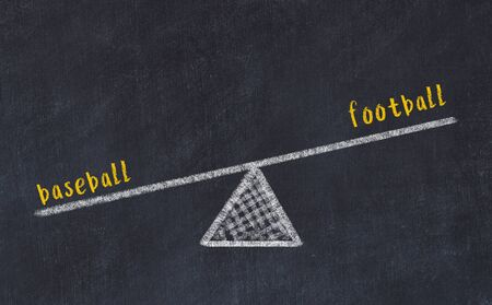 Chalk board sketch of scales. Concept of balance between football and baseball. Stok Fotoğraf