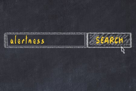 Chalkboard drawing of search browser window and inscription alertness.