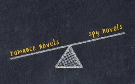 Chalk board sketch of scales. Concept of balance between romance novels and spy novels.