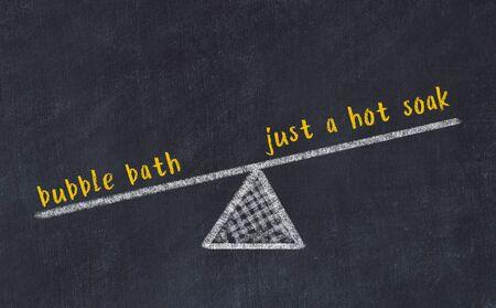 Chalk board sketch of scales. Concept of balance between bubble bath and just a hot soak. Stock fotó