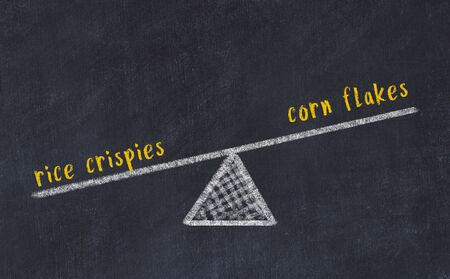Chalk board sketch of scales. Concept of balance between rice crispies and corn flakes. Stok Fotoğraf