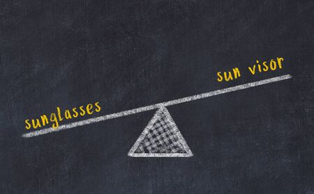 Chalk board sketch of scales. Concept of balance between sunglasses and sun visor.