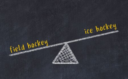 Chalk board sketch of scales. Concept of balance between field hockey and ice hockey.