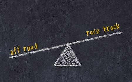 Chalk board sketch of scales. Concept of balance between off road and race track. Stock fotó
