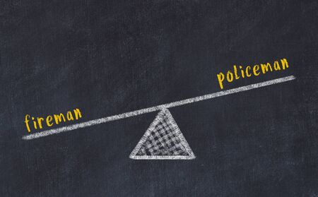 Chalk board sketch of scales. Concept of balance between fireman and policeman.