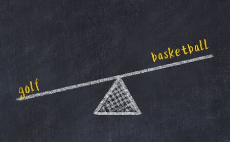 Chalk board sketch of scales. Concept of balance between golf and basketball.
