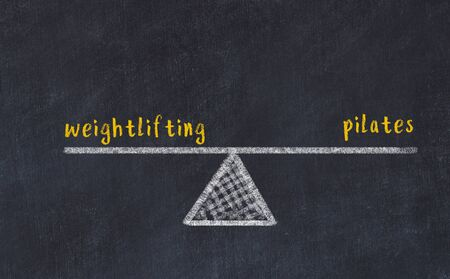 Chalk board sketch of scales. Concept of balance between weightlifting and pilates.
