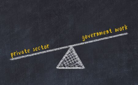 Chalk board sketch of scales. Concept of balance between government work and private sector. Banco de Imagens