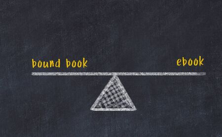 Chalk board sketch of scales. Concept of balance between bound book and ebook.