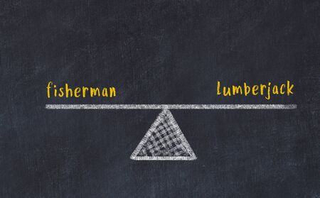 Chalk board sketch of scales. Concept of balance between fisherman and lumberjack.